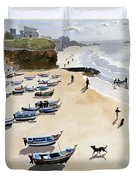 Boats On The Beach Duvet Cover by Lucy Willis