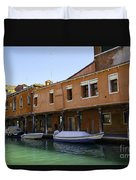 Boats On The Canal - Venice Duvet Cover