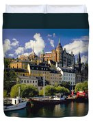 Boats On Waterfront Duvet Cover