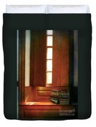 Books On A Window Seat Duvet Cover