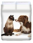 Border Collie & Siamese Cat Duvet Cover