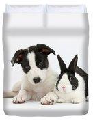 Border Collie Pup And Dutch Rabbit Duvet Cover