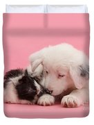 Border Collie Pup And Guinea Pig Duvet Cover