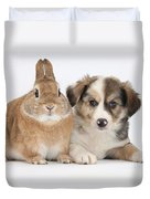 Border Collie Pup And Sandy Duvet Cover