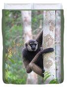 Bornean White-bearded Gibbon Duvet Cover