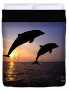 Bottlenose Dolphins Duvet Cover by Francois Gohier and Photo Researchers