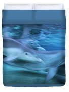 Bottlenose Dolphins Swimming Hawaii Duvet Cover