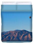 Boulder Colorado Flatirons Hot Air Balloon View Duvet Cover