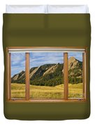 Boulder Colorado Flatirons Window Scenic View Duvet Cover
