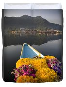 Bouquet Of Flowers In Bow Of Boat Dal Duvet Cover