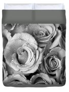 Bouquet Of Roses With Water Drops In Black And White Duvet Cover