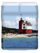 Round Island Light House Michigan Duvet Cover