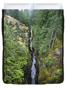 Box Canyon With Flowing Stream, Mount Duvet Cover