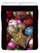 Box Of Christmas Ornaments With Star Duvet Cover