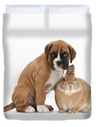 Boxer Puppy And Netherland-cross Rabbit Duvet Cover