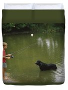 Boy Fishing In A Pond With A Black Duvet Cover