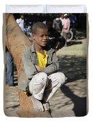 Boy In Zen Thought Duvet Cover