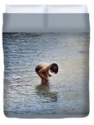Boy Playing In The Pond Duvet Cover