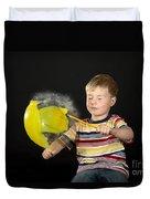 Boy Popping A Balloon Duvet Cover