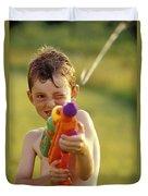 Boy Spraying Water Gun Duvet Cover