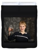 Boy With A Hot Glass Of Water Duvet Cover