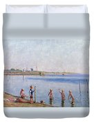 Boys At Water's Edge Duvet Cover by Johan Rohde