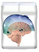 Brain In Skateboard Helmet Duvet Cover