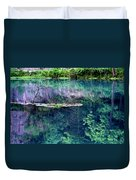 Branch And Reflections At Alley Spring State Park Duvet Cover