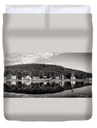 Brant Lake Reflections Black And White Duvet Cover