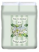 Bridal Shower Invitation - Apple Blossoms Duvet Cover
