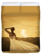Bride In Yellow Field On Sunset  Duvet Cover