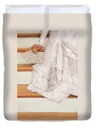 Bride Sitting On Stairs With Lace Fan Duvet Cover by Jill Battaglia