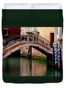 Bridge And Striped Poles Over A Canal In Venice Duvet Cover
