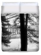 Bridge In The Fog Bw Duvet Cover