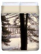 Bridge In The Fog Duvet Cover