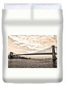 Brooklyn Bridge In Sepia Duvet Cover