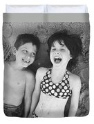 Brother And Sister On Beach Duvet Cover