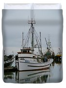 Brown And White Fish Boat Duvet Cover