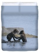 Brown Bear Cubs Playing On A Rocky Duvet Cover