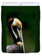 Brown Pelican Profile Duvet Cover