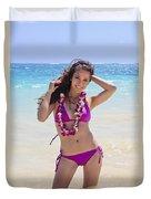 Brunette Model On Beach Duvet Cover by Tomas del Amo