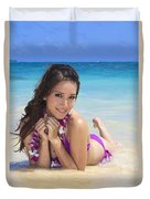 Brunette On Beach Duvet Cover by Tomas del Amo