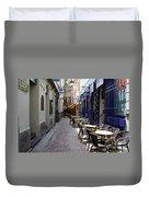 Brussels Side Street Cafe Duvet Cover