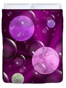 Bubbles And Moons - Purple Abstract Duvet Cover