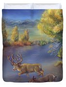 Buck And Doe Crossing River Duvet Cover