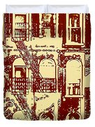 Building Facade Line Art Duvet Cover