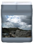 Buildings Cover The Lower Section Of A Hill That Has A Temple At The Top With Clouds Covering The Sk Duvet Cover