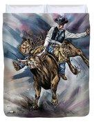 Bull Bucking His Rider Duvet Cover