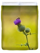 Bull Thistle With Bumble Bee Duvet Cover