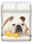 Bulldog With Plastic Chew Toy Duvet Cover